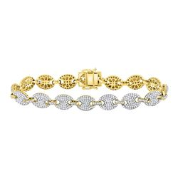5 & 5/8 CTW Mens Round Diamond Gucci Link Fashion Bracelet 10kt Yellow Gold - REF-385R3X