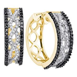 3/4 CTW Womens Round Black Color Enhanced Diamond Hoop Earrings 10kt Yellow Gold - REF-51M8F