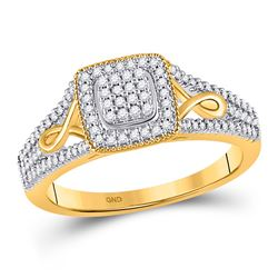1/4 CTW Womens Round Diamond Square Cluster Ring 10kt Yellow Gold - REF-31F4W