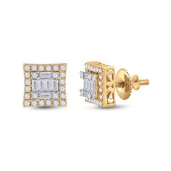 1/2 CTW Womens Baguette Diamond Square Earrings 14kt Yellow Gold - REF-51F8W