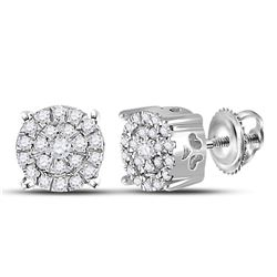 1/8 CTW Womens Round Diamond Cindys Dream Cluster Earrings 10kt White Gold - REF-16A4M