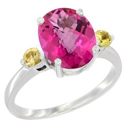 2.64 CTW Pink Topaz & Yellow Sapphire Ring 10K White Gold - REF-24W5F