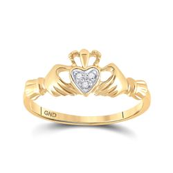 0.02 CTW Womens Round Diamond Claddagh Heart Ring 14kt Yellow Gold - REF-21A2M