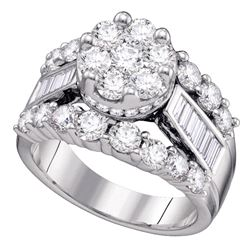 3 CTW Round Diamond Cluster Bridal Wedding Engagement Ring 14kt White Gold - REF-302X3T