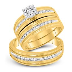 1/3 CTW His Hers Round Diamond Solitaire Matching Wedding Set 10kt Yellow Gold - REF-51X2T