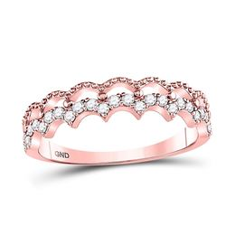 1/4 CTW Womens Round Diamond Scalloped Stackable Ring 10kt Rose Gold - REF-24T5V