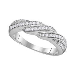 1/4 CTW Womens Round Diamond Crossover Band Ring 10kt White Gold - REF-23H9R