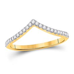 1/5 CTW Womens Round Diamond Chevron Stackable Band Ring 10kt White Gold - REF-24Y5N