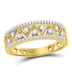 1/3 CTW Womens Round Diamond Zigzag Band Ring 10kt Yellow Gold - REF-33H5R