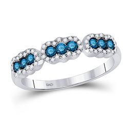 1/2 CTW Womens Round Blue Color Enhanced Diamond Band Ring 10kt White Gold - REF-25F9W