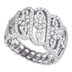 1 CTW Womens Round Diamond Striped Cluster Fashion Band Ring 10kt White Gold - REF-79M2F