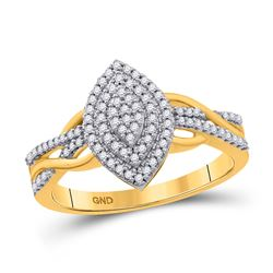 1/4 CTW Womens Round Diamond Marquise-shape Cluster Ring 10kt Yellow Gold - REF-27Y3N