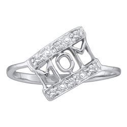 1/20 CTW Womens Round Diamond Mom Mother Ring 10kt White Gold - REF-13W2H
