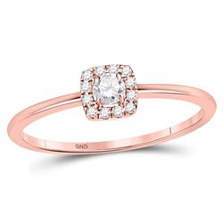 1/5 CTW Womens Round Diamond Solitaire Stackable Band Ring 10kt Rose Gold - REF-26R5X