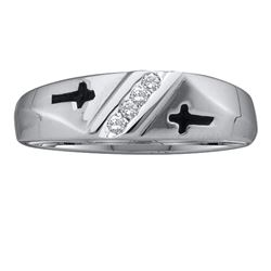 1/20 CTW Mens Round Diamond Single Row Cross Wedding Band Ring 10kt White Gold - REF-17V3Y