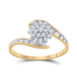 1/6 CTW Womens Round Diamond Cluster Ring 10kt Yellow Gold - REF-13W5H