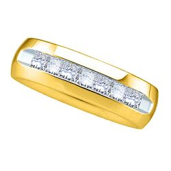 1 CTW Mens Princess Channel-set Diamond Wedding Anniversary Band Ring 14kt Yellow Gold - REF-204V5Y