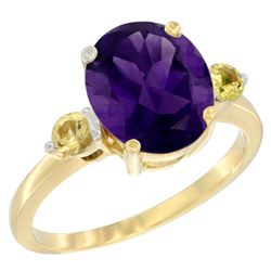 2.64 CTW Amethyst & Yellow Sapphire Ring 14K Yellow Gold - REF-32Y3V
