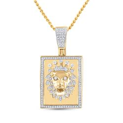 1/2 CTW Mens Round Diamond Lion Crown Rectangle Tag Charm Pendant 14kt Yellow Gold - REF-88N5A