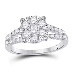 1 CTW Womens Round Diamond Flower Cluster Ring 14kt White Gold - REF-88F5W
