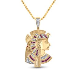 1 CTW Mens Round Ruby Diamond Pharaoh Charm Pendant 10kt Yellow Gold - REF-95N5A