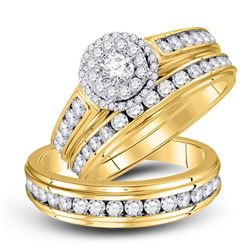 1 & 5/8 CTW His Hers Round Diamond Halo Matching Wedding Set 14kt Yellow Gold - REF-190Y8N