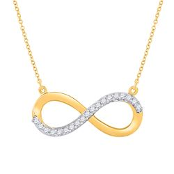1/20 CTW Womens Round Diamond Infinity Necklace 10kt Yellow Gold - REF-15Y2N
