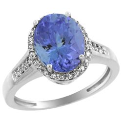 2.60 CTW Tanzanite & Diamond Ring 10K White Gold - REF-76Y4V