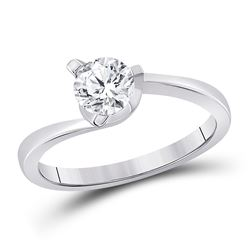 3/4 CTW Womens Round Diamond Solitaire Bridal Wedding Engagement Ring 14kt White Gold - REF-126V2Y