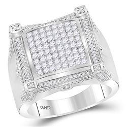 2 CTW Mens Princess Diamond Square Cluster Ring 10kt White Gold - REF-199R6X