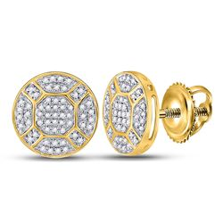 1/3 CTW Mens Round Diamond Circle Cluster Earrings 10kt Yellow Gold - REF-29X9T
