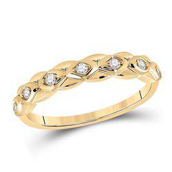 1/10 CTW Womens Round Diamond Band Ring 10kt Yellow Gold - REF-17T6V