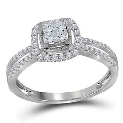 1/2 CTW Womens Princess Diamond Cluster Fashion Ring 14kt White Gold - REF-45F2W