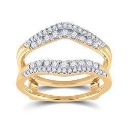 1/2 CTW Womens Round Diamond Wedding Wrap Ring 14kt Yellow Gold - REF-72V3Y