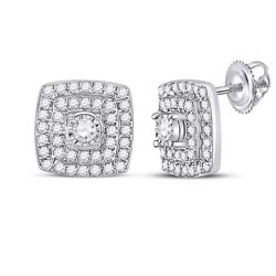 1/4 CTW Womens Round Diamond Square Earrings 10kt White Gold - REF-27Y3N