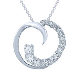 0.63 CTW Diamond Pendant 14K White Gold - REF-54H5M