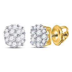 1/5 CTW Womens Round Diamond Cluster Earrings 10kt Yellow Gold - REF-16X4T