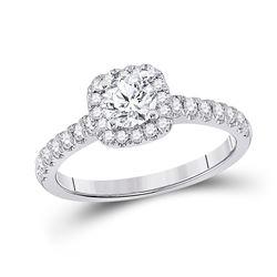 1 CTW Round Diamond Solitaire Bridal Wedding Engagement Ring 14kt White Gold - REF-122F6W