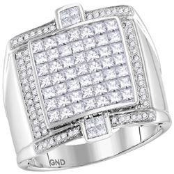 2 CTW Mens Princess Diamond Square Luxury Cluster Ring 14kt White Gold - REF-206N5A