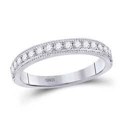 1/3 CTW Womens Round Diamond Wedding Single Row Band Ring 14kt White Gold - REF-34X3T