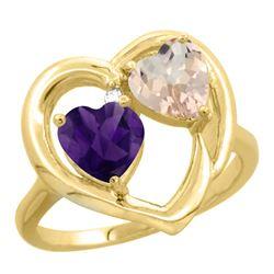 1.91 CTW Diamond, Amethyst & Morganite Ring 10K Yellow Gold - REF-26F5N