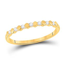 1/10 CTW Womens Round Diamond Stackable Band Ring 14kt Yellow Gold - REF-18Y5N