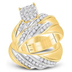 1 CTW His Hers Round Diamond Cluster Matching Wedding Set 14kt Two-tone Gold - REF-112H4R