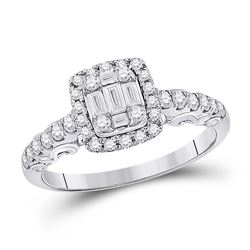 5/8 CTW Womens Baguette Diamond Square Cluster Ring 14kt White Gold - REF-74W9H