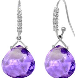 Genuine 17.18 ctw Amethyst & Diamond Earrings 14KT White Gold - REF-59X3M