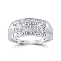 1/6 CTW Mens Round Diamond Band Ring 10kt White Gold - REF-35N4A