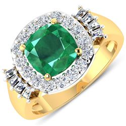 Natural 2.73 CTW Zambian Emerald & Diamond Ring 14K Yellow Gold - REF-125H3M