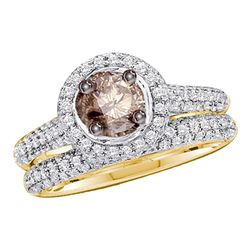 1 & 1/4 CTW Womens Round Brown Diamond Bridal Wedding Ring 14kt Yellow Gold - REF-85F3W