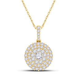 1/2 CTW Womens Round Diamond Cluster Pendant 14kt Yellow Gold - REF-37N5A