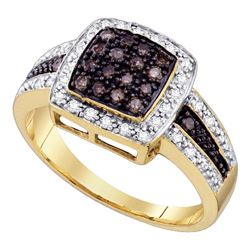 1/2 CTW Womens Round Brown Diamond Cluster Ring 14kt Yellow Gold - REF-40Y8N